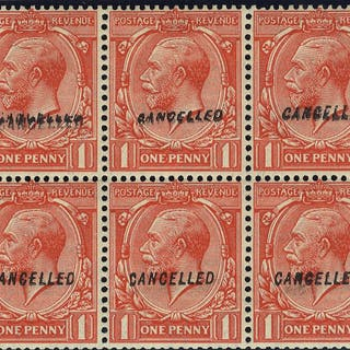 1924 1d booklet pane optd CANCELLED