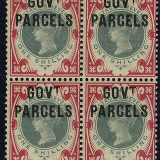 1900 Govt Parcels 1s SGO72 Mint block of four