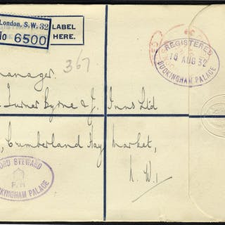 1932 Buckingham Palace/Lord Steward postmarks on registered envelope