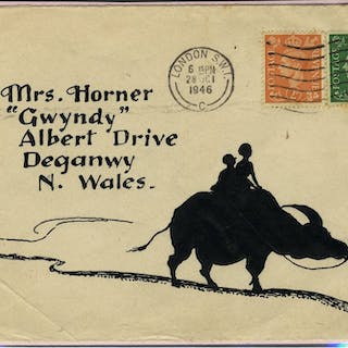 1946 pen & ink illustrated envelope from London to Wales