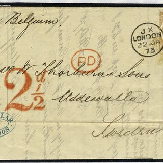 1872 6d SG122b on cover to Sweden