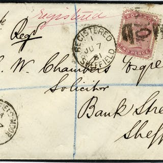 1881 1d & 2d SG166 & SG168 registered cover