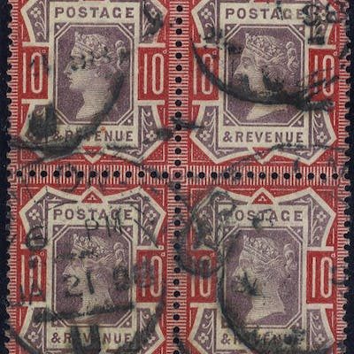 1890 10d Jubilee block of four SG210