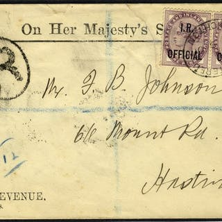 1901 OFFICIAL envelope, Brighton to Hastings, franked 1d lilac I.R