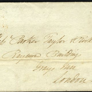 1841 cover from Handsworth to London - Pl.2 PH, blue boxed Handsworth
