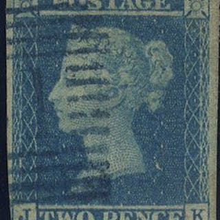 1841 2d blue Plate 3 J-K, 1844 Type Scots numeral cancel in BLUE, SG.14
