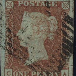 1841 1d red brown C-A, very fine used with four HUGE MARGINS, SG.8