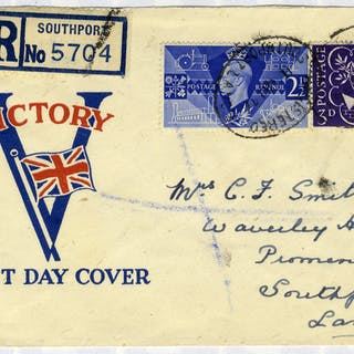 1946 Victory illustrated First Day Cover (opened at top) to Southport