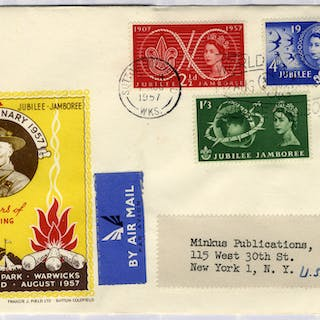 1957 50 Years of Scouting illustrated FDC to New York - Sutton Coldfield