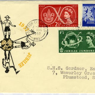 1957 Scouts illustrated FDC to Plumstead - Sutton Coldfield pictorial