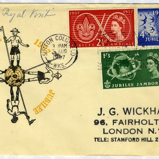 1957 Scouts illustrated FDC to London - Sutton Coldfield pictorial