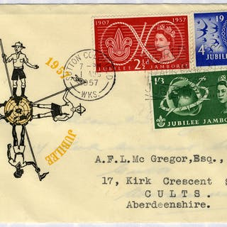 1957 Scouts illustrated FDC to Aberdeenshire - Sutton Coldfield pictorial