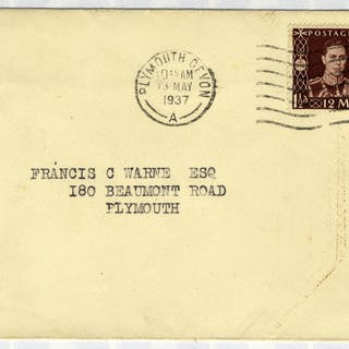 1937 Coronation illustrated First Day Cover to Plymouth