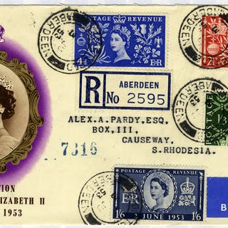 1953 Coronation illustrated registered Airmail First Day Cover to