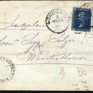 1881 cover London to Winterthur, Switzerland, 2d blue Pl.5 & ½d pale