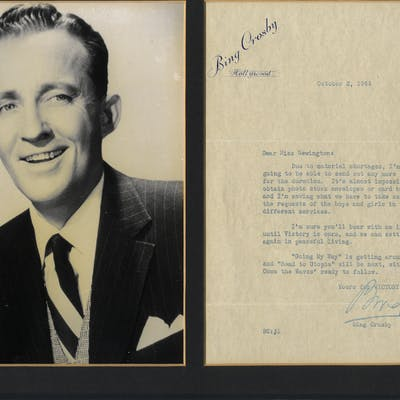 CROSBY, BING 1903-1977 (American Singer & Actor) signed typed letter