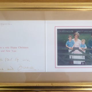 CHARLES & DIANA - Christmas card with photograph of Princess Diana