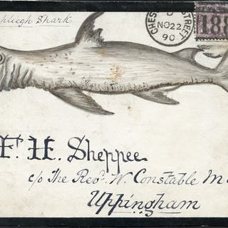1890 hand painted water colour (Rashliegh Shark) cover front, 1d lilac