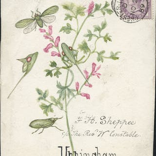 1889 hand painted watercolour (moth & flower) cover front, 1d lilac