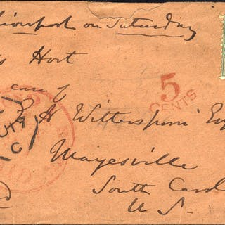USA 1859 envelope (damaged corner) to South Carolina, 1s green (SG.72)