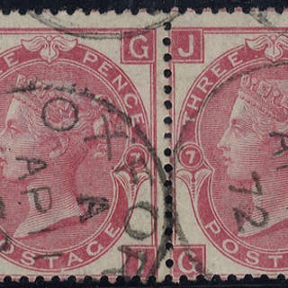 1871 3d rose Plate 7, VFU pair, Oxford c.d.s's, SG.103, Cat. £140++