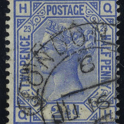 1881 2½d blue, Plate 23 QH, very fine used c.d.s copy, SG.157, Cat. £35