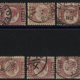 1870 ½d rose red (SG.48/49) range of ten different Plates all with