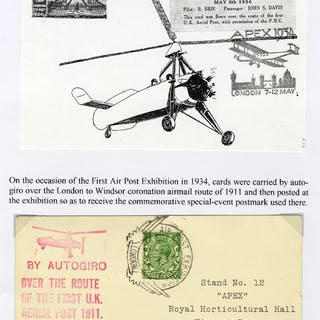 1934 May 8th First Air Post Exhibition Auto Giro flow card, London