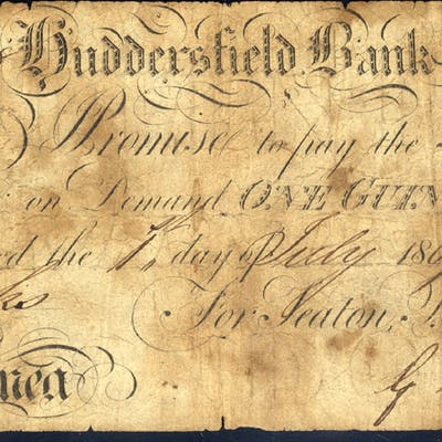 Huddersfield Bank 1 guinea, dated 1809, No. Ag818 for Seaton, Brook