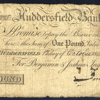 Huddersfield Commercial Bank £1, dated 1813, No. M975 for Benjamin