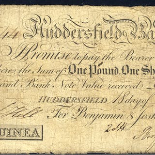 Huddersfield Commercial Bank 1 guinea, dated 1808, No. A544 for Benjamin