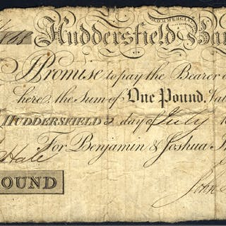 Huddersfield Commercial Bank £1, dated 1815, No. W868 for Benjamin