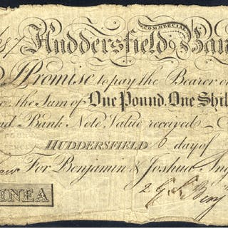 Huddersfield Commercial Bank 1 guinea, dated 1809 for Benjamin & Joshua