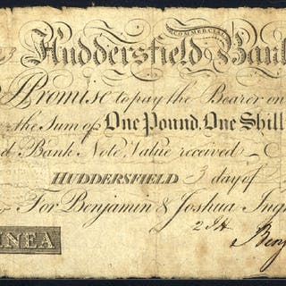 Huddersfield Commercial Bank 1 guinea, dated 1810 for Benjamin & Joshua