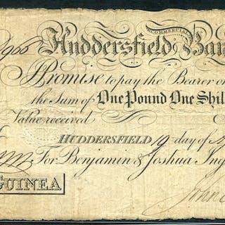 1814 Huddersfield Commercial Bank 1 guinea, Benjamin & Joshua Ingham & Co