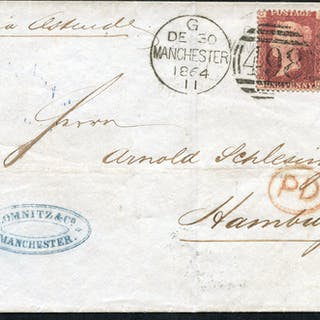 1864 cover from Manchester to Hamburg, franked 1d red
