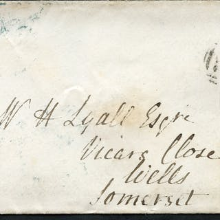1841 envelope from Yarmouth to Wells, Somerset, franked 1841 1d red