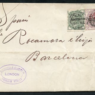 1883 cover - London to Barcelona, ½d green (SG.164) & 3d on 3d (SG.159)