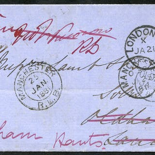 1881 wrapper from London to Oldham, re-directed to Odiham, Hants