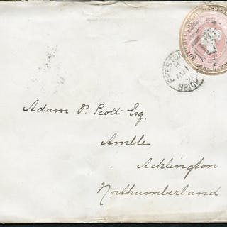 1890 1d pink stationery envelope from Brighton to Acklington, Northumberland