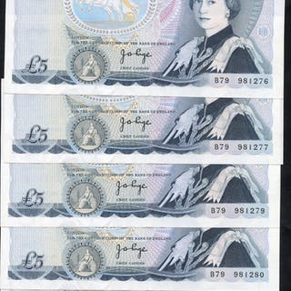 1971 Page £5 blue, Wellington reverse, consecutive run of 5