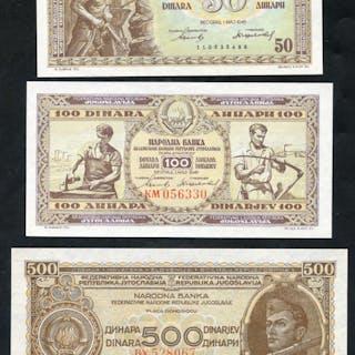 Yugoslavia 1946 50 dinara, 100 dinara & 500 dinara