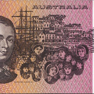 Australia $5, issued 1974 Phillips & Wheeler series NPN, about UNC to UNC