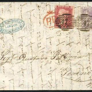 1861 cover from London to Torino franked 1d stars & 6d pale lilac