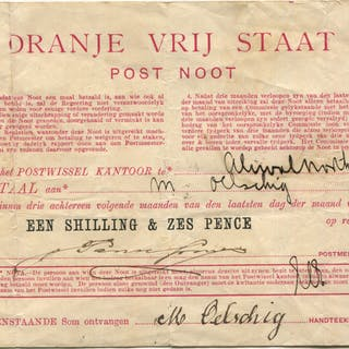 1898 South Africa - Orange Free State Post Noot for 1/6d - good fine