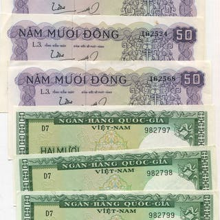 South Vietnam 20 dong x3 & 50 dong x4 - about UNC