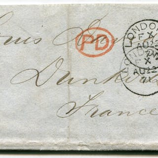 1871 cover from London to Dunkurk, France, 1d red & 2d blue, London