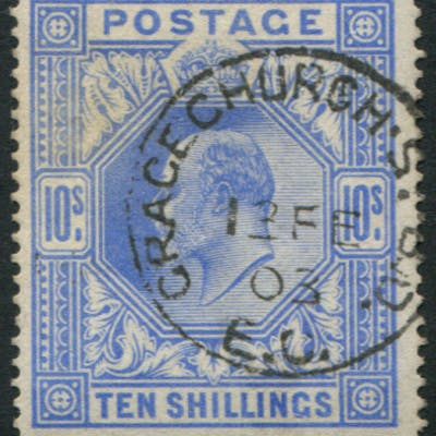 1902 DLR 10s ultramarine, superb used, Gracechurch St. Feb.13.03 c.d.s
