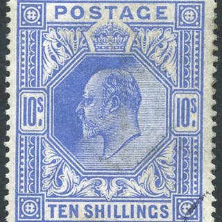 1912 Somerset House 10s deep blue, VFU with c.d.s, complete clear profile