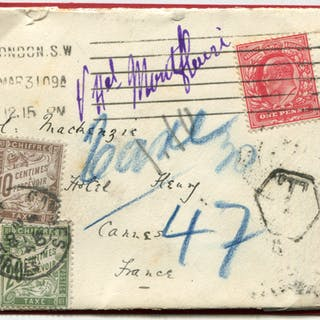 1909 envelope to Cannes, France, franked 1d Edward, London machine